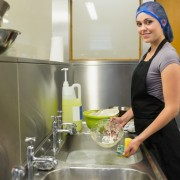 Commercial food hygiene in a kitchen