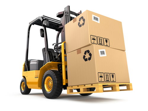Forklift truck with boxes