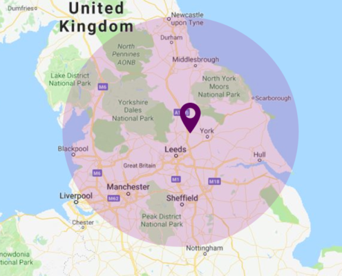 onsite training radius map, we can come to you for all our training courses