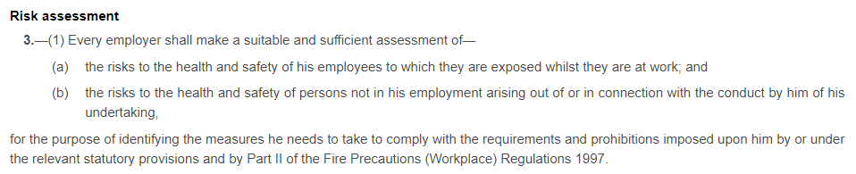 Management of Health and Safety at Work Regulations